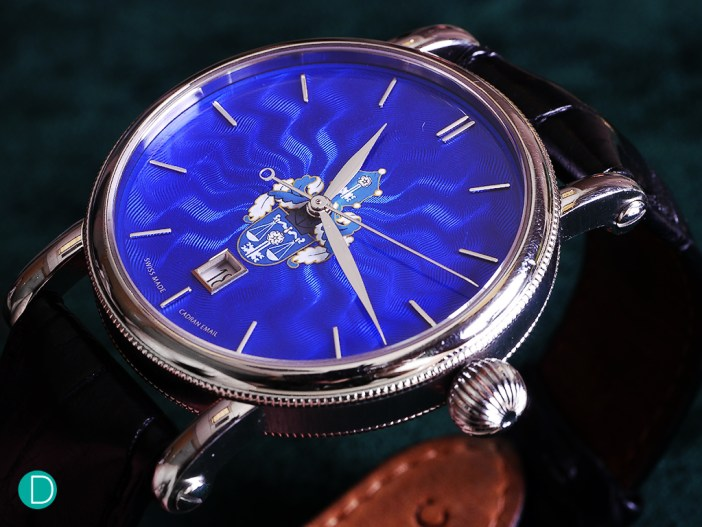 Chronoswiss Sirius Artist special edition. Hand guilloché dial with grand feu enamel in blue and white crest. The crest is the Epstein family crest.