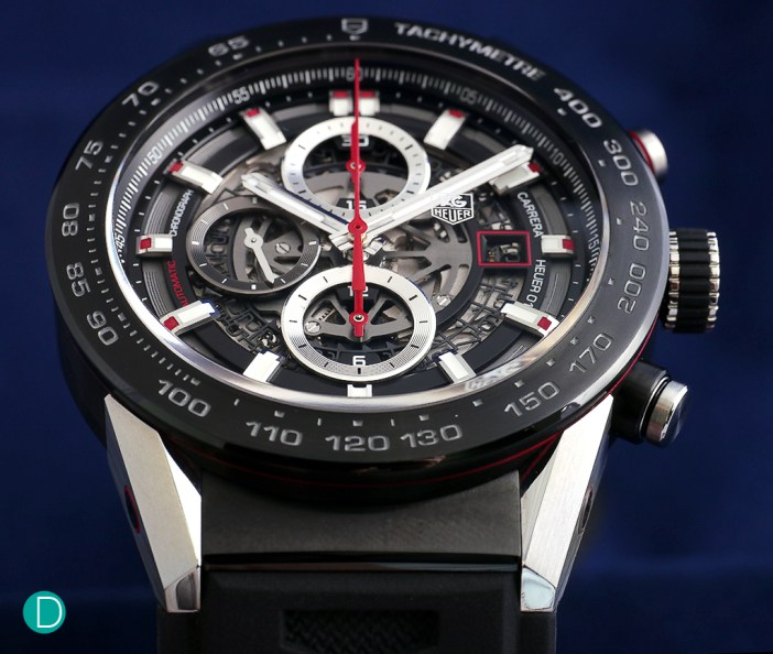 TAG Heuer Carrera Heuer 01: the first watch to be released by TAG under the stewardship of Jean-Claude Biver. Some commentators say it reminds them of a Hublot.