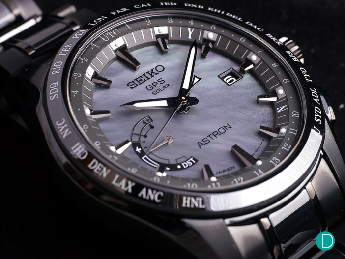 The Seiko Astron GPS Solar Worldtime SSE091 with the mother of pearl dial.
