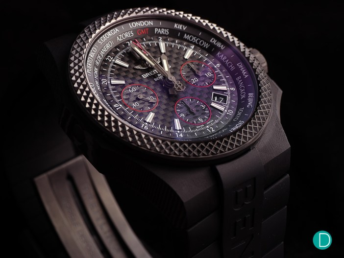 The Breitling for Bentley GMT B04 S Carbon. The red accent, as well as the use of carbon fibre, gives the watch a racing pedigree.