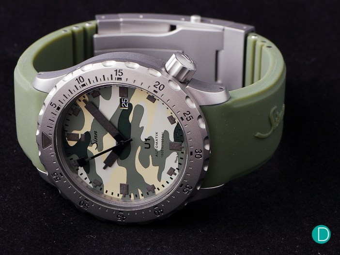The Sinn U1. This one is the Camo version, which adds an interesting touch to a serious tool watch.