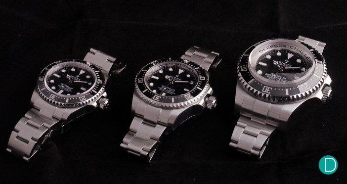 The Rolex Sea Dweller 4000 Ref. 116600, the Rolex Deepsea Sea Dweller Ref. 116660) both cetified to 3.900 m, and the experimental Rolex Deepsea Challenge rated to 12,000 m. Case size: 40mm, 44mm, 51mm.