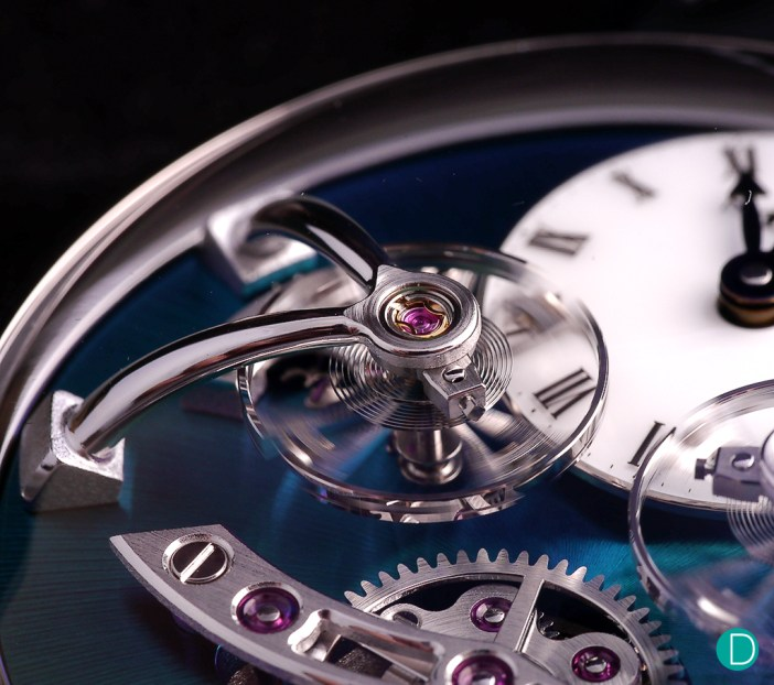 The bespoke balance wheels are mirror images of each other and they would react differently due to its natural movement.