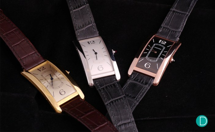 All three versions of the Cartier Tank Cintrée
