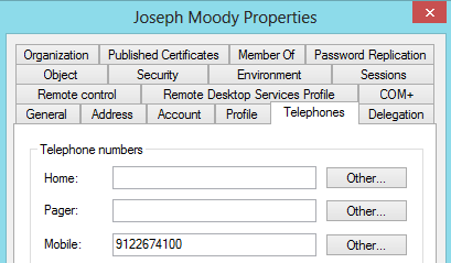 Gathering Active Directory Mobile Phone Attributes