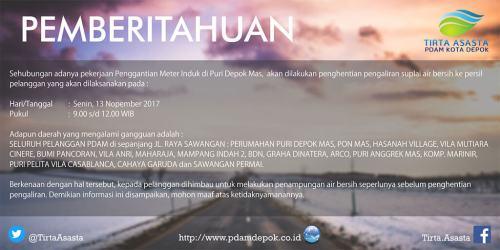 Pemberitahuan Penghentian Pengaliran Air PDAM Depok Sementara 13 Nov 2017