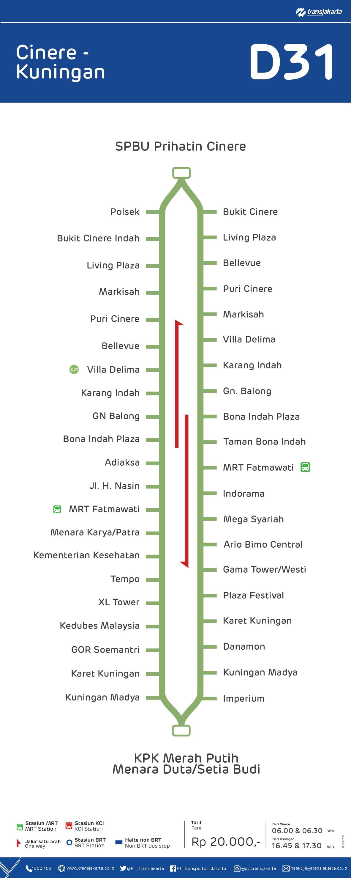Rute Transjakarta D31 Cinere Kuningan Busway