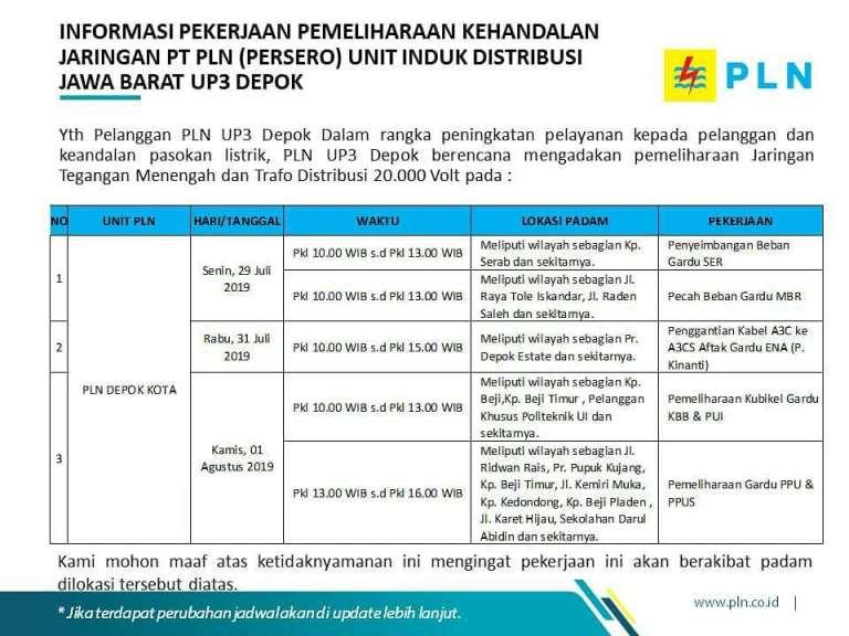 Pemadaman Listrik Bergilir di Depok 29 Juli-2 Agustus 2019 PLN Depok Kota