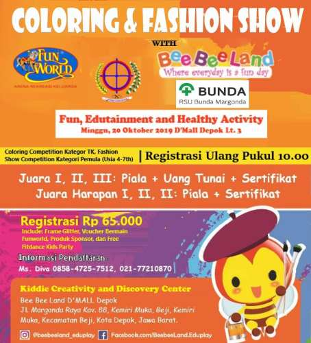 Coloring and Fashion Show di Bee Bee Land Dmall Depok 20 Okt 2019