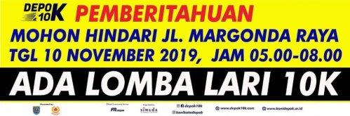 Hindari Jalan Margonda Raya pada 10 November 2019 Depok 10K