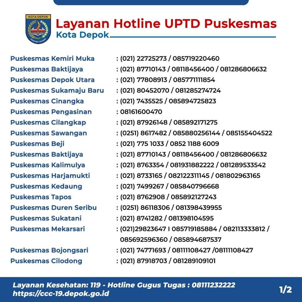 Layanan Hotline Puskesmas Kota Depok