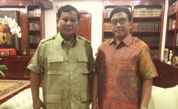 Ketua Kadin Jabar Agung Suryamal bertemu dengan Ketua Umum Partai Gerindra Prabowo Subianto.