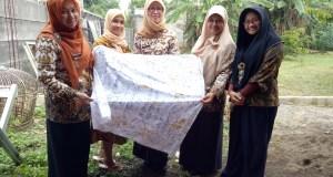 Sekdis Perdagangan dan Industri Hestyana bersama staf meninjau industri batik warna alam, Ambary di Depok.