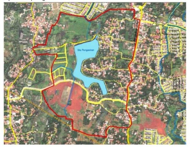 Inilah kawasan Situ Pengasinan Sawangan Kota Depok dilihat dari udara.