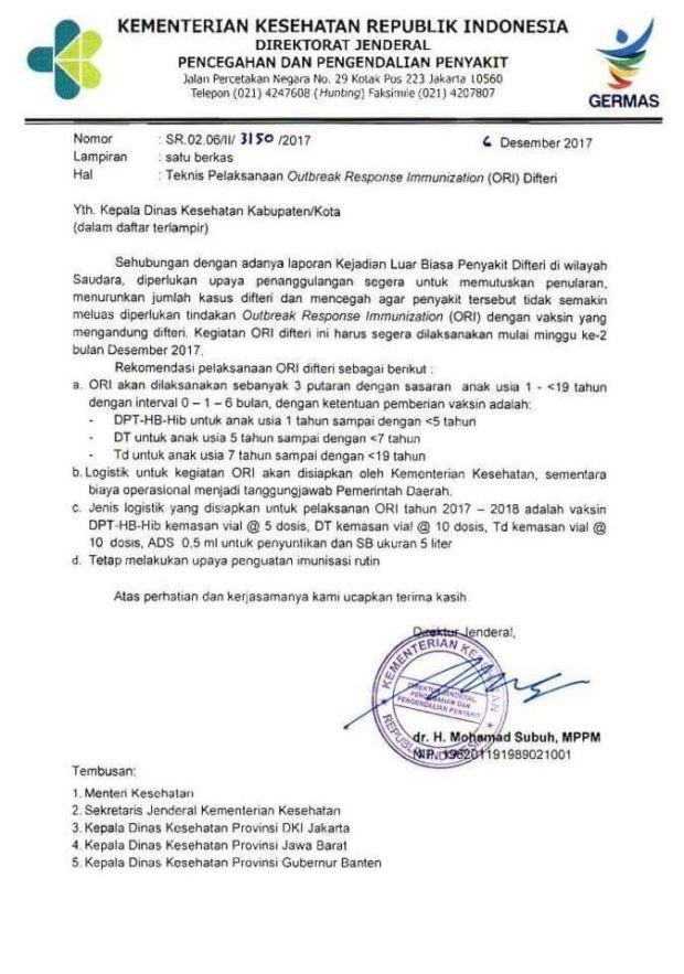Inilah surat edaran dari Kementerian Kesehatan soal imunisasi DPT gratis.