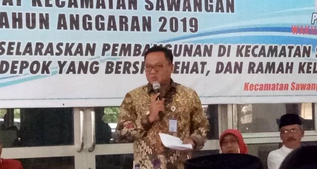 Wakil Walikota Depok Pradi Supriatna pada Musrenbang Kecamatan Sawangan.