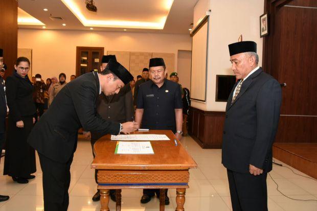 Kepala Dinas Perhubungan Kota Depok Dadang Wihana pada acara pelantikan Selasa 13 Maret 2018.