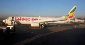 Pesawat Ethoiphian yang mengalami kecelakaan.