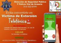 Alerta Seguridad Pública Armería sobre llamadas de extorsión telefónica