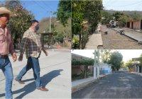 Revisa alcalde Carlos Carrasco avances en la construcción de la calle principal de las Conchas
