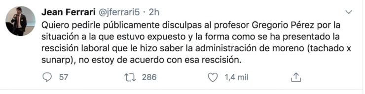 Jean Ferrari se pronuncia tras salida de Gregorio Pérez