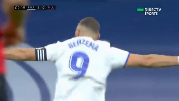 Benzema hace el 1-0 del Real Madrid vs Mallorca