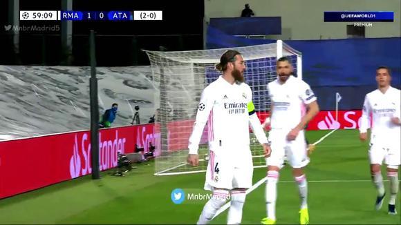 sergio ramos anota de penal el 2 0 para el real madrid vs atalanta video uefa world