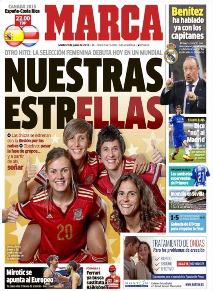 Pese a sus éxitos, el deporte femenino tiene aún muy poca presencia en los medios en España.