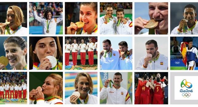España consiguió 17 medallas en los JJOO de Río (7 oros, 4 plantas y 6 bronces).