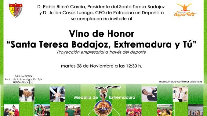 """Vino de Honor 2017 """"Santa Teresa Badajoz, Extremadura y Tú"""", martes 28 de noviembre"""