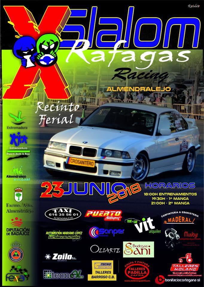 Cartel Almendralejo acoge el sábado el X Slalom Ráfagas Racing