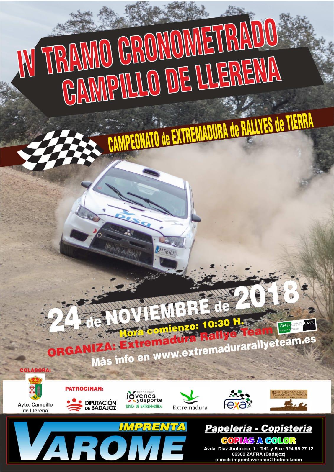 El Extremadura Rallye Team organizará el IV Tramo Cronometrado Campillo de Llerena