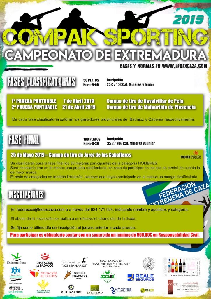 Navalvillar de Pela y Malpartida de Plasencia acogen en abril las dos fases puntuables del Campeonato de Extremadura de Compak Sporting