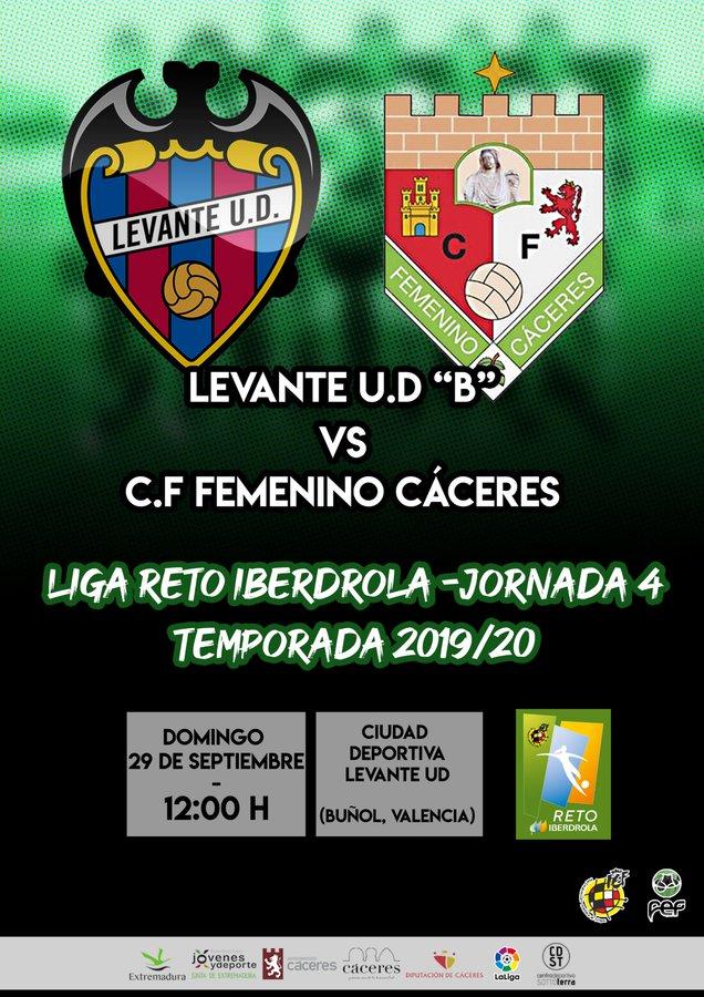 El C.F Femenino Cáceres jugará su cuarta jornada de Liga Reto Iberdrola ante el Levante UD