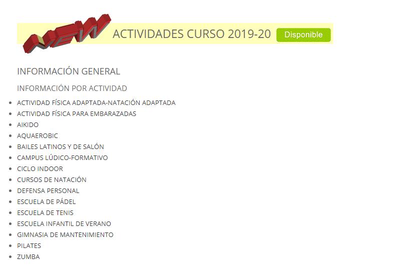 Programa General de Actividades Físico-Deportivas diseñado para el Curso 2019-2020 en el Campus de Cáceres