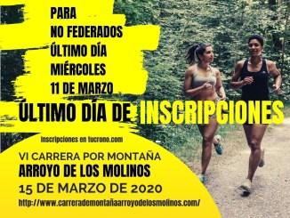 Últimos días de Inscripciones en la VI Carrera Arroyo de los Molinos