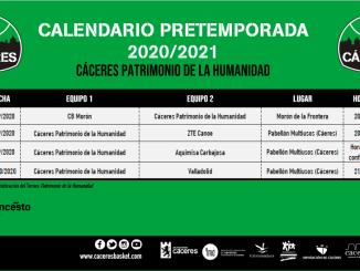 Calendario pretemporada Cáceres Patrimonio de la Humanidad