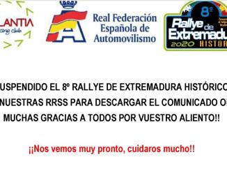 Cancelación 8º Rallye de Extremadura Histórico 2020