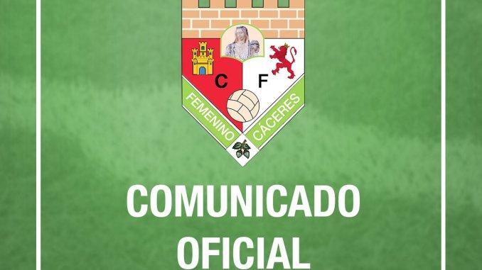 Comunicado Oficial CF Femenino Caceres