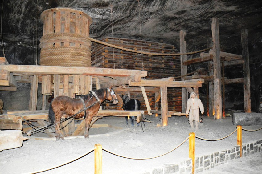 Four or eight horses were used to operate the winch
