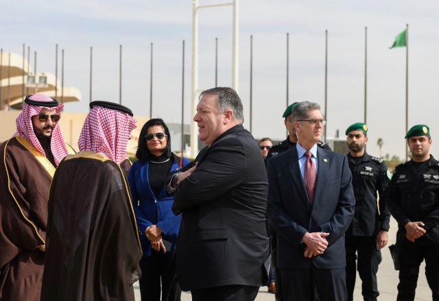 U.S. Secretary of State Mike Pompeo, center, is accompanied by Saudi Minister of State for Foreign Affairs Adel al-Jubeir, secod left, as he departs from Saudi Arabia's King Khalid International, in Riyadh, Monday, January 14, 2019. U.S. Secretary…