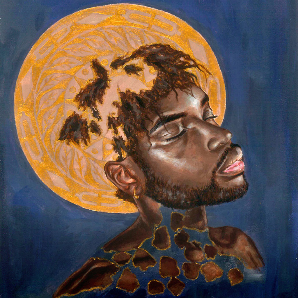 Cover artwork featuring a painting of a Black man's face with some features cracked and merging into a golden circle in a deep blue sky background
