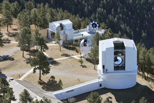 Aerial view of telescopes at Apache Point Observatory