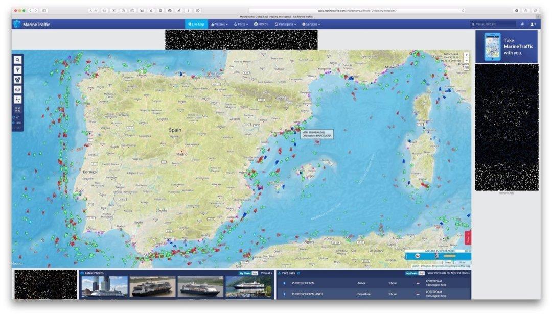 Marine Traffic en la web