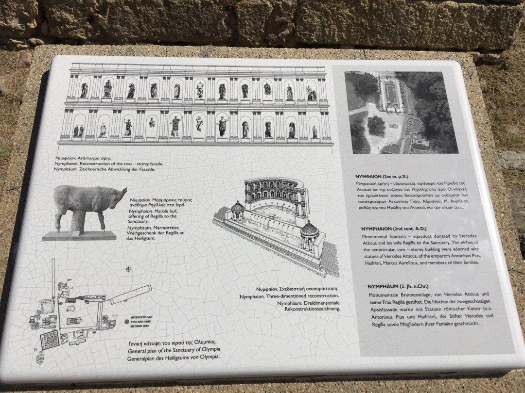 Placa explicativa Ninfeo de Herodes Ático