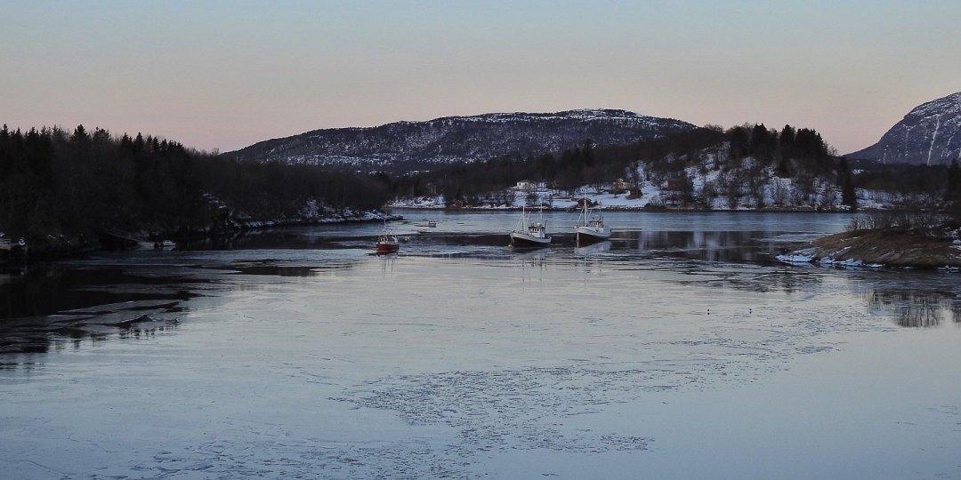 Pesqueros entre el hielo en Ørnes