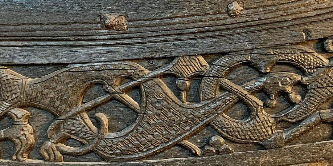 Detalle de la roda del barco de Oseberg