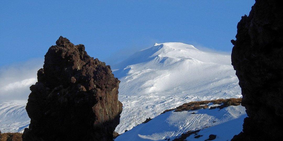 El Snæfellsjökull desde Djúpalónssandur
