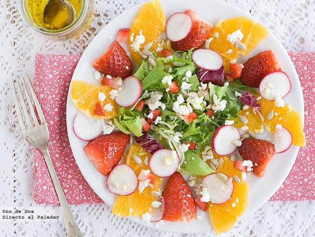 Receta de temporada: Ensalada de naranja y fresones
