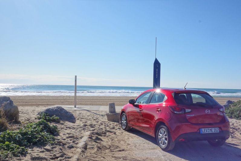 Mazda 2 2015 Hinten Seite Rubinrot